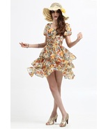 NWT Rose pattern Silk chiffon Waist belted dress - $68.00