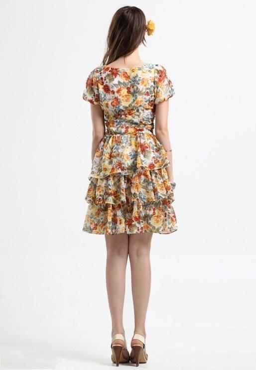 NWT Rose pattern Silk chiffon Waist belted dress