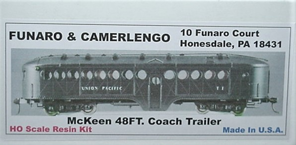 Funaro & Camerlengo HO Mckeen passenger Trailer, ONE PIECE BODY,  kit 704