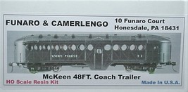 Funaro & Camerlengo HO Mckeen passenger Trailer, ONE PIECE BODY,  kit 704 image 1
