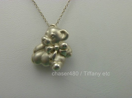 Tiffany & Co Teddy Bear & Bow Ribbon Pendant Chain Necklace Sterling Silver RARE - $196.42