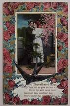 1910 Postcard Sweetheart Days Greetings Bird & Roses - $5.00