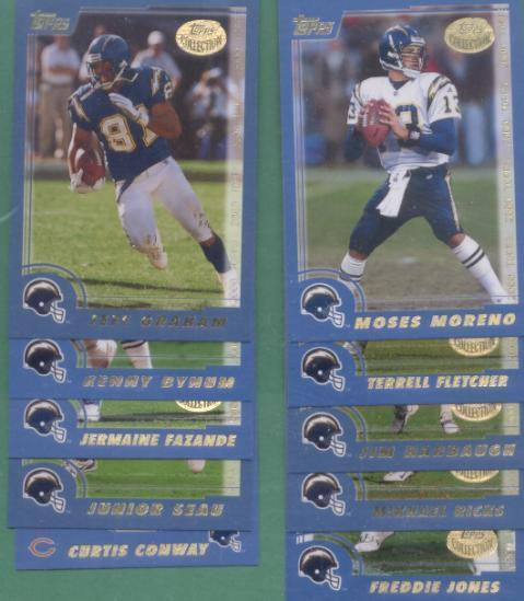 2000 Topps San Diego Chargers Football Team Set