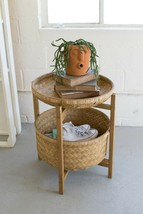 Set/2 Bamboo Baskets Planters With Wooden Stand ,22'' x 24''H - $277.20