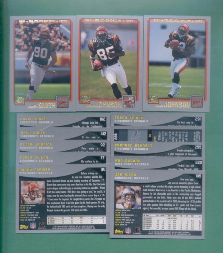 2001 Topps Cincinnati Bengals Football Team Set