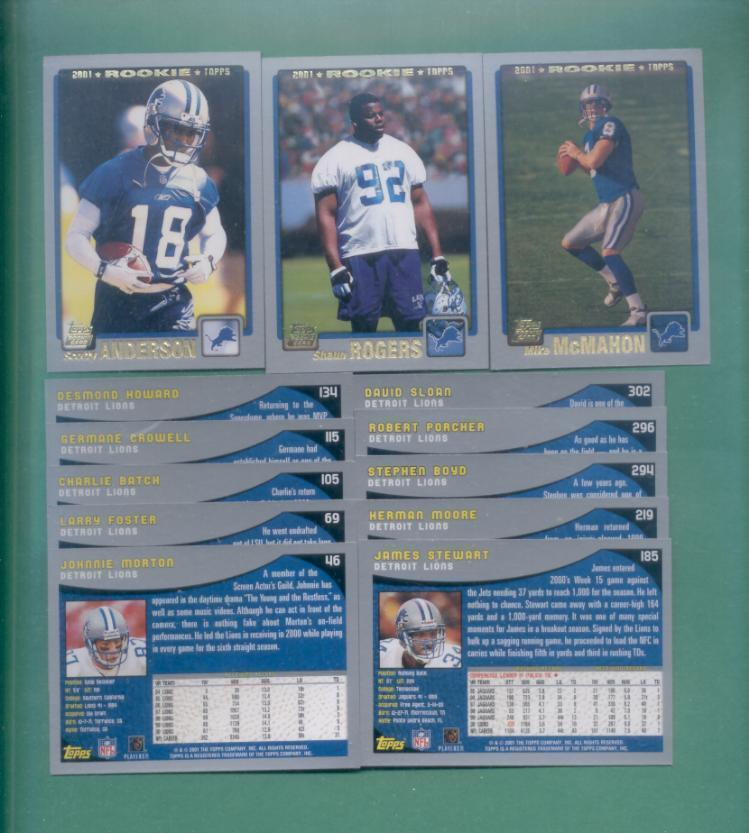 2001 Topps Detroit Lions Football Team Set