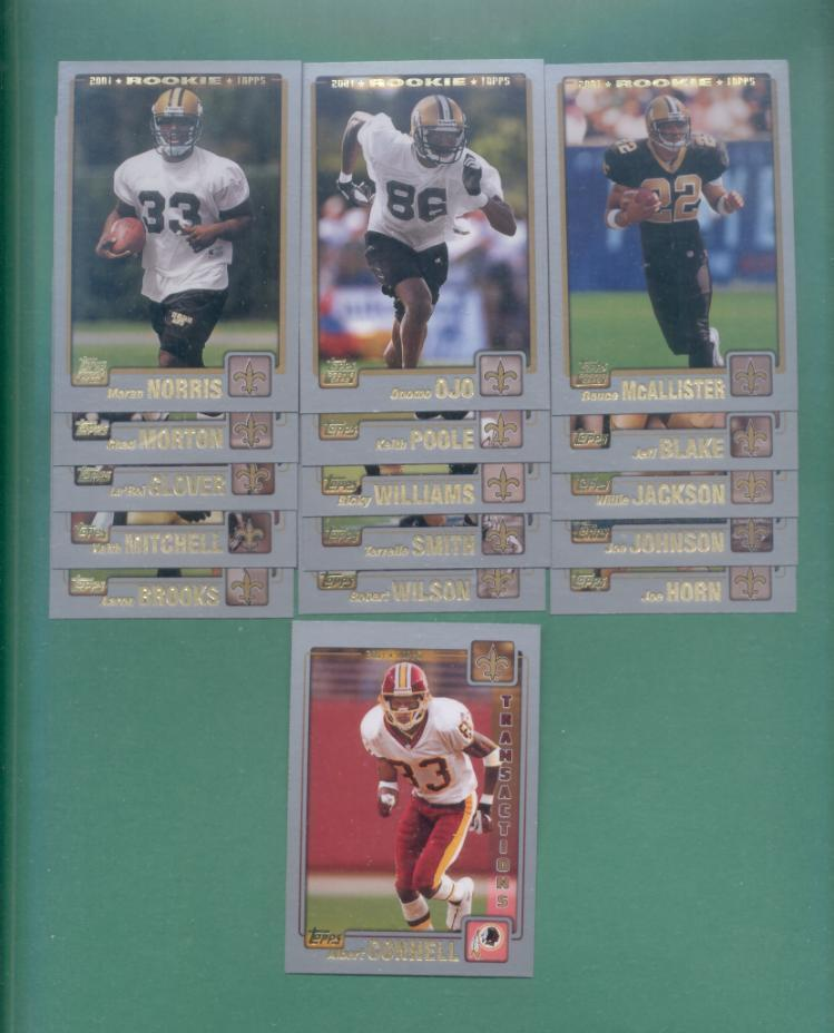 2001 Topps New Orleans Saints Football Team Set