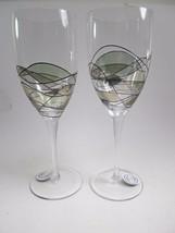 "Romania Europe Stil Glass Wine Water Goblets Set of 2 Stemware 10 5/8"" tall - $19.79"