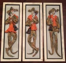Set of 3 Framed Art Cloth Sculpted Mache Sculpture Spanish Minstrels Wal... - $140.25