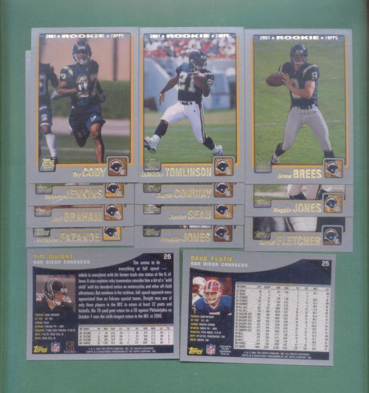 2001 Topps San Diego Chargers Football Set