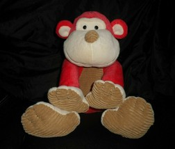 "16"" ANIMAL ADVENTURE 2012 RED & BROWN MONKEY STUFFED ANIMAL PLUSH TOY TA... - $23.38"