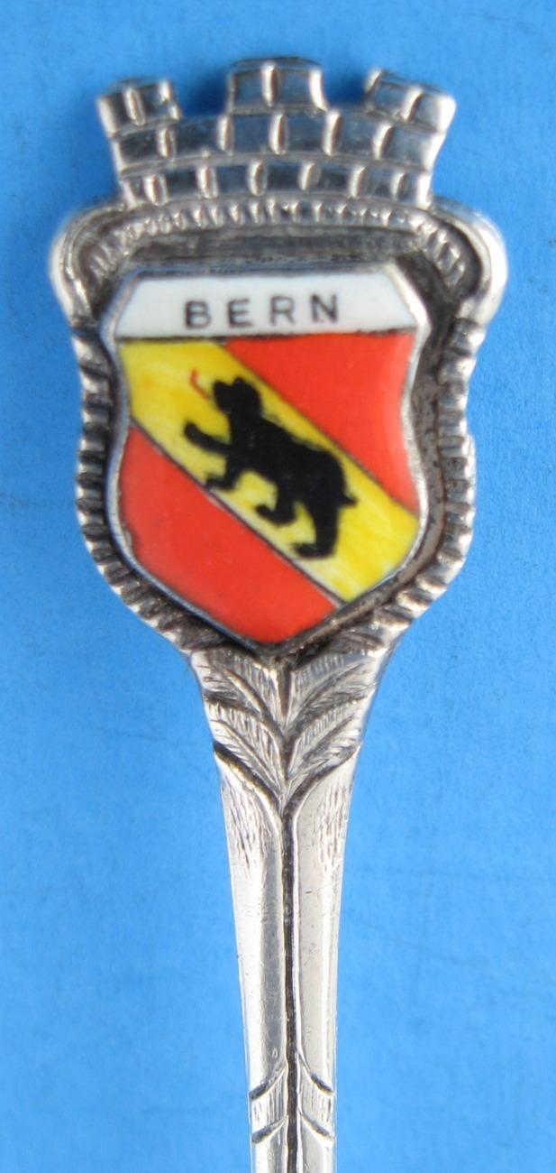 Souvenir Spoon Vintage Bern Switzerland Enamel Shield
