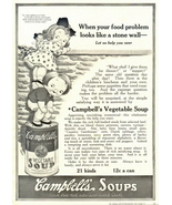 1937 Campbell's Vegetable Soup human ladder print ad - $10.00
