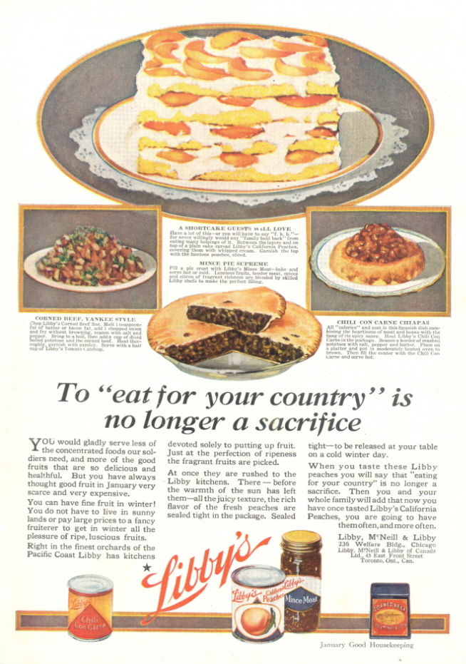 1946 Libby's Peaches Canned Fruits pie print ad