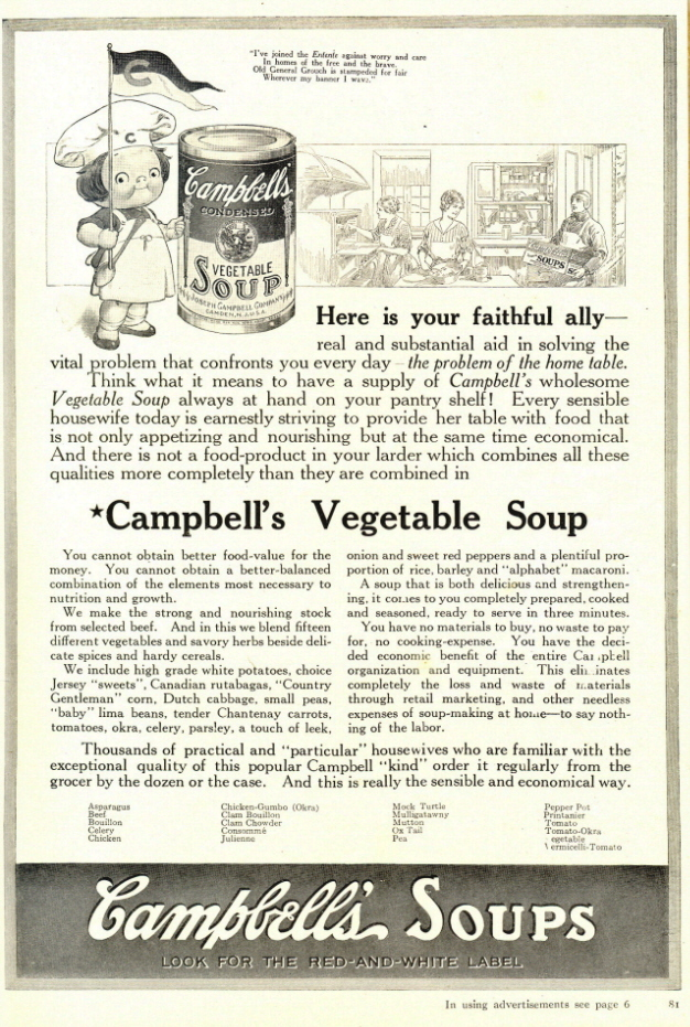 1937 Campbell's Vegetable Soup list of 21 kind print ad