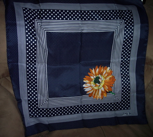 Signed Vintage Scarf Flower w/ Navy & White
