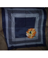 Signed Vintage Scarf Flower w/ Navy & White - $8.95