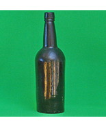 "Antique British ""Black Glass"" 3-Piece Mold Whisky Bottle, 1870s-1880s - $7.95"