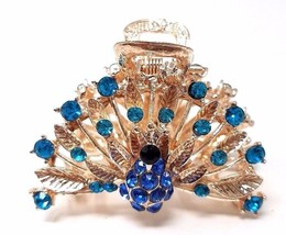 Ladies Hair Accessories, Jaw Hair Clip with Rhinestones, Color Gold & Blue - €5,36 EUR