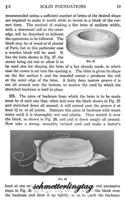 Millinery Book Make Flapper Hat Frames Foundations Hats 1921 Milliner Guide 1/2