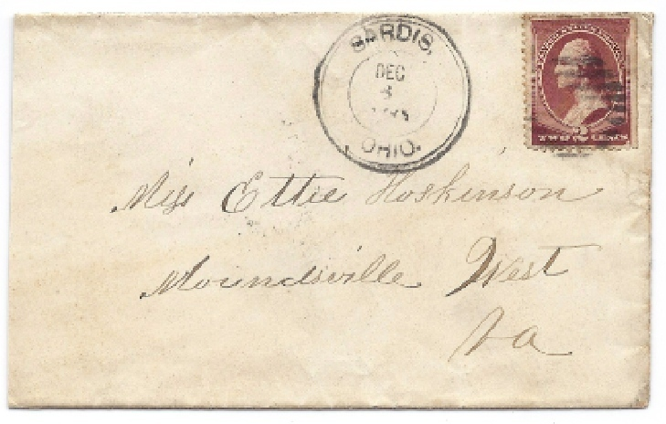 c1881 Sardis, OH Vintage Post Office Postal Cover