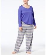 Jenni by Jennifer Moore Plus Size Knit Top and Printed Pants Pajama Set - £16.14 GBP