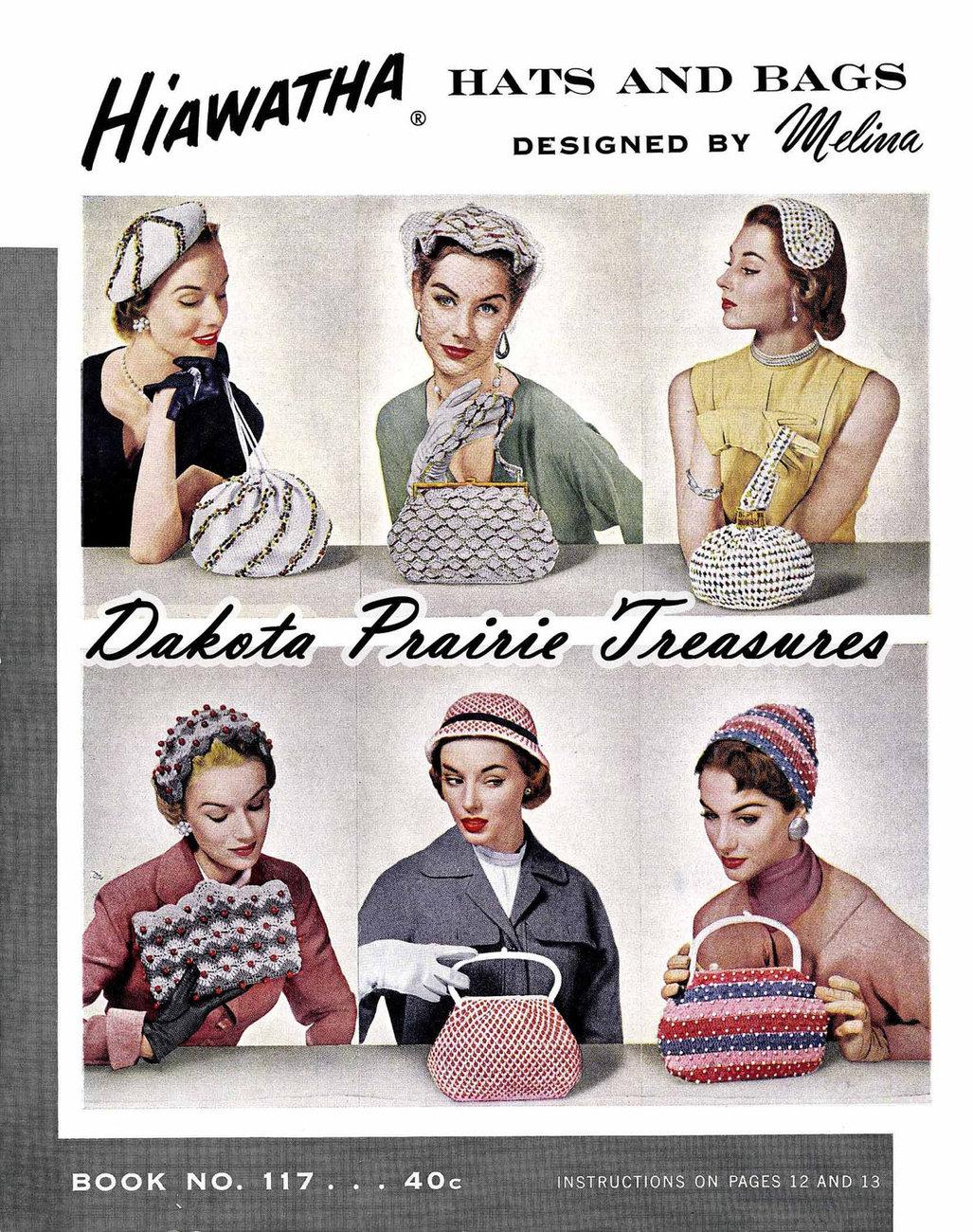 Post-WWII Swing Era Hiawatha Crochet Book Millinery Hats Bags Purse Patterns 195