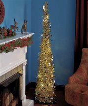 """65"""" Slim Christmas Tree Lighted Space Saving Battery Operated Holiday Trees - $34.98"""