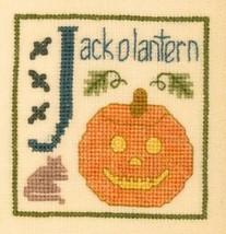 J is for Jack O Lantern SC21 mini cross stitch chart Elizabeth's Designs  - $4.00