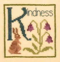 K is for Kindness SC22 mini cross stitch chart Elizabeth's Designs  - $4.00