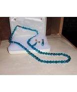 Vintage Blue Aurora Borealis Necklace and Earring Set - $149.00
