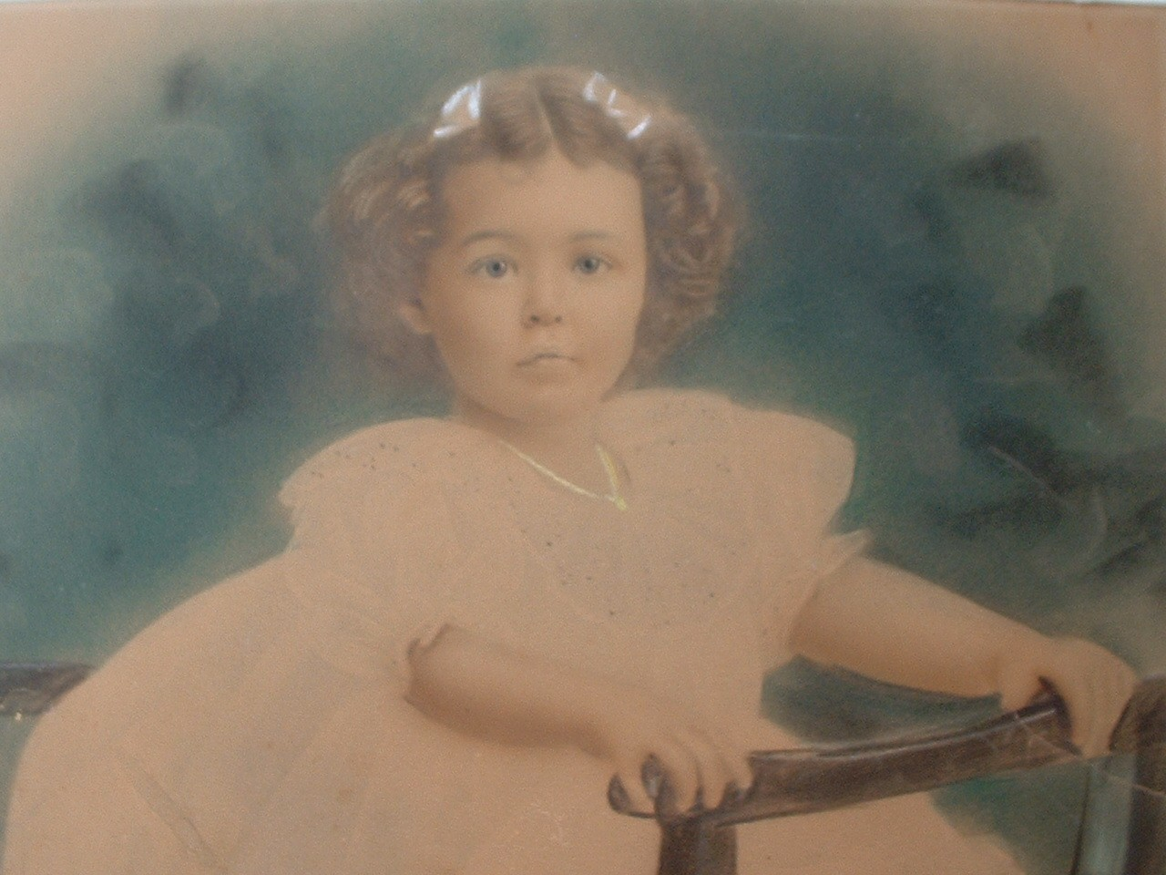 Vintage Antique Hand Colored Photograph of Toddler