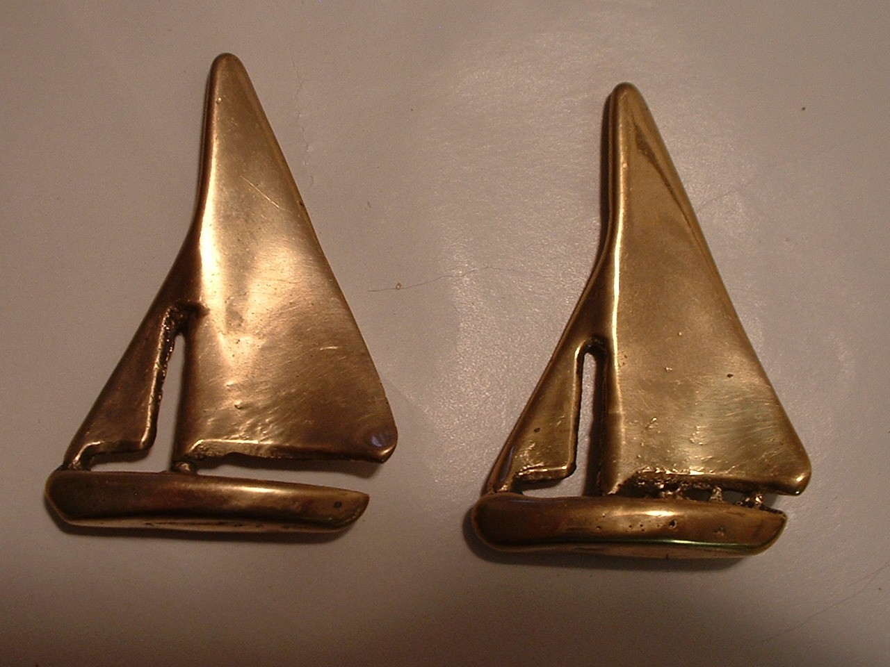 Vintage Pair of Brass Sail Boats Knick Knacks