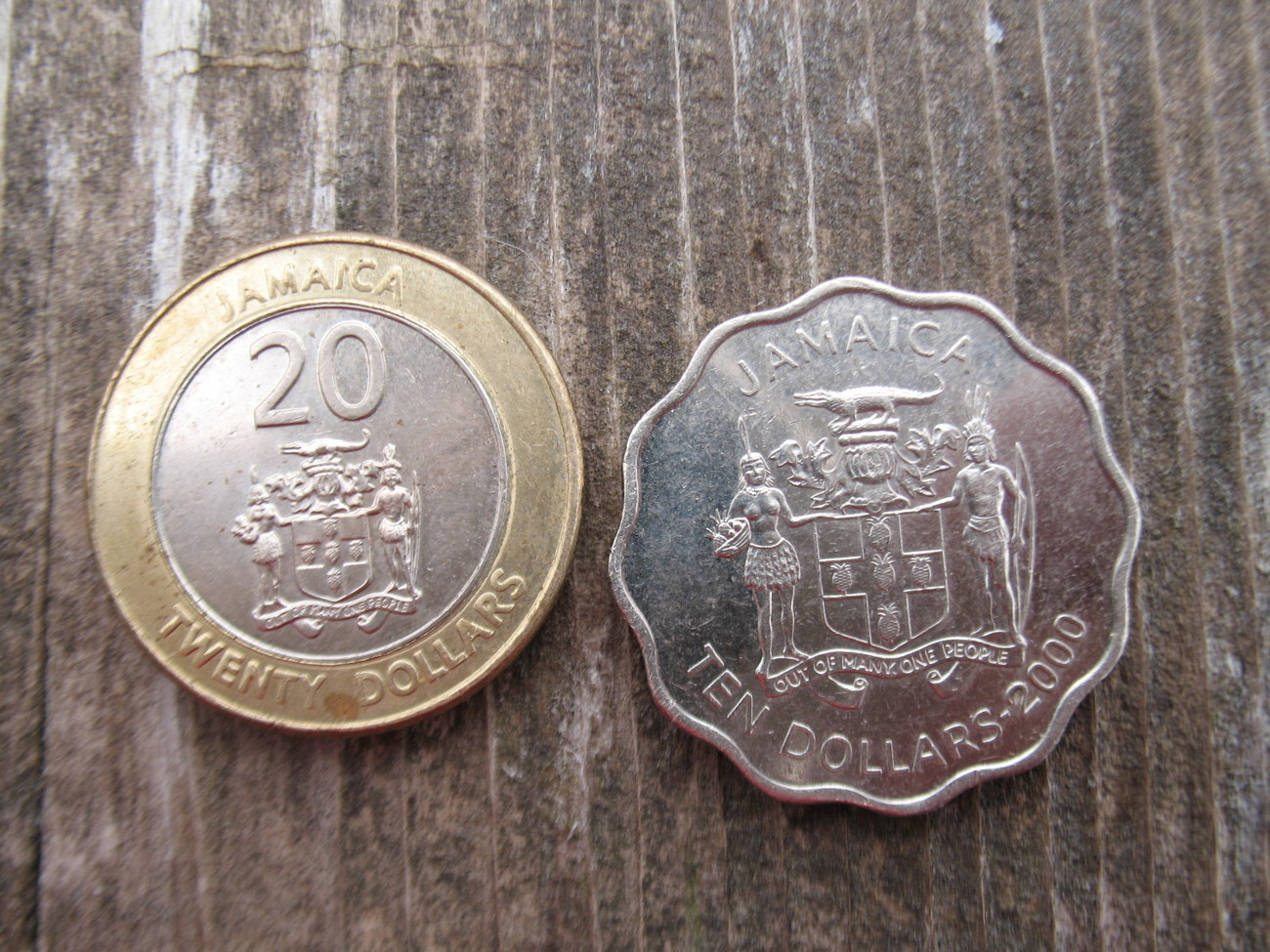 Jamaica Ten and Twenty Dollar Coin 2000 and 2001