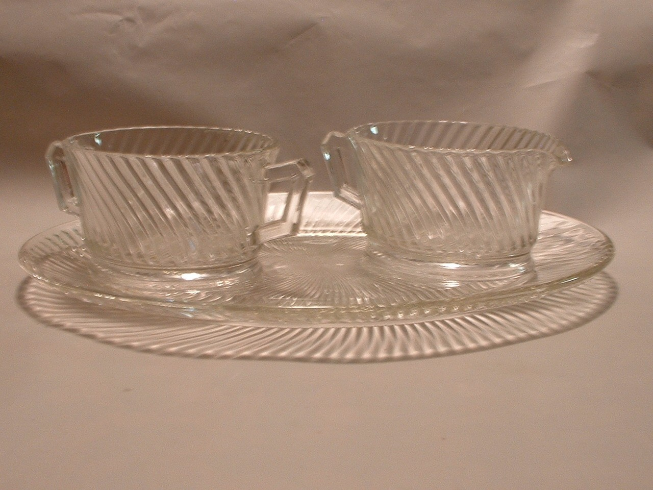 Vintage Glass Creamer and Sugar on Plate Set Very Deco