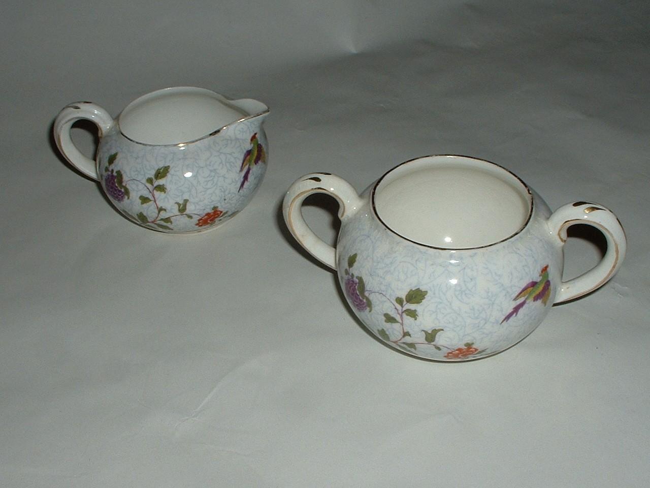 Vintage Crown Staffordshire Porcelain Open Sugar and Creamer