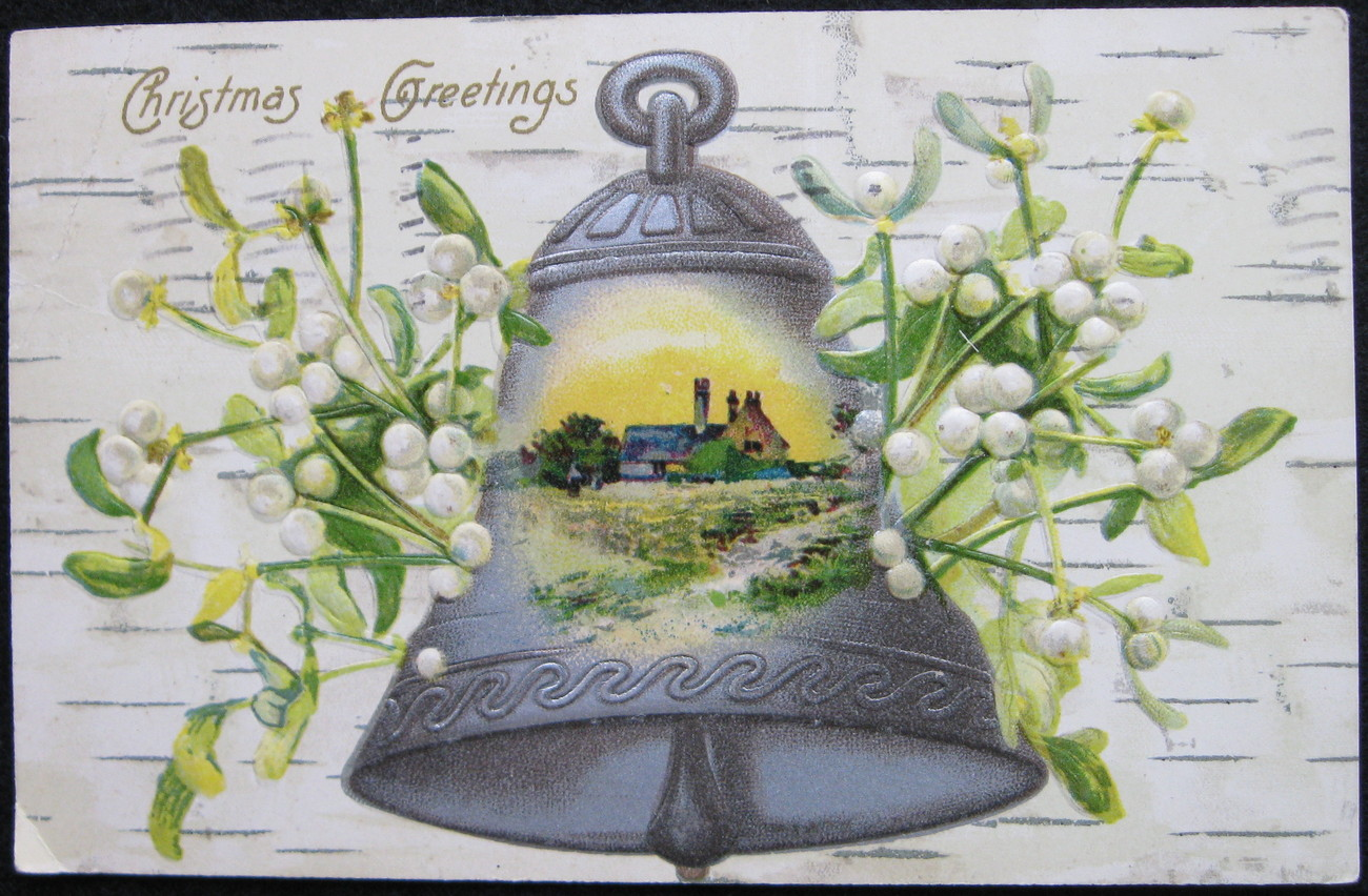Primary image for Antique, Early Divided-back, Embossed, Christmas Postcard, Christmas Greetings,