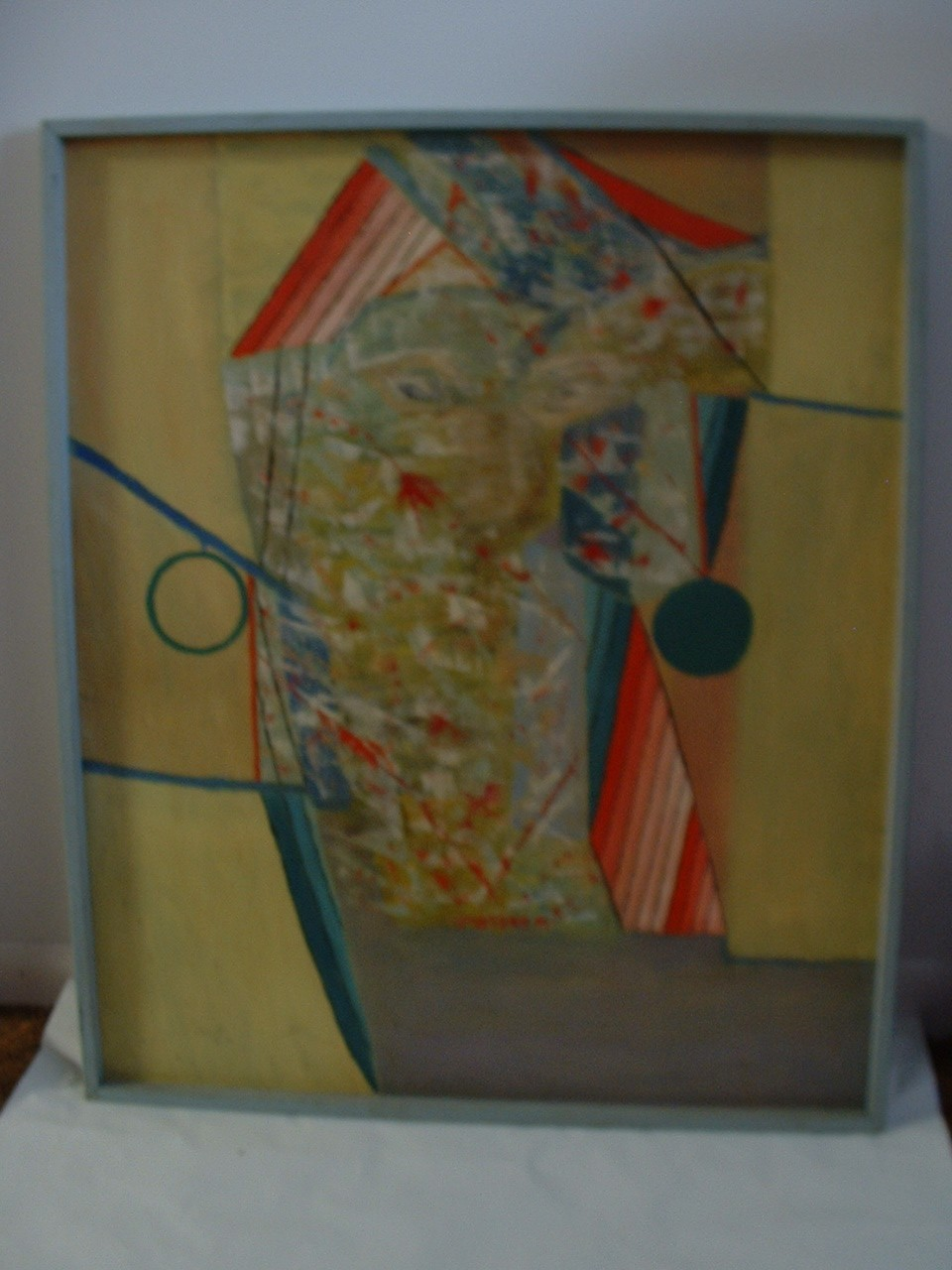 "Large 31"" x 26"" Original Oil on Hard Board Abstract signed by Artist Metzger 60'"