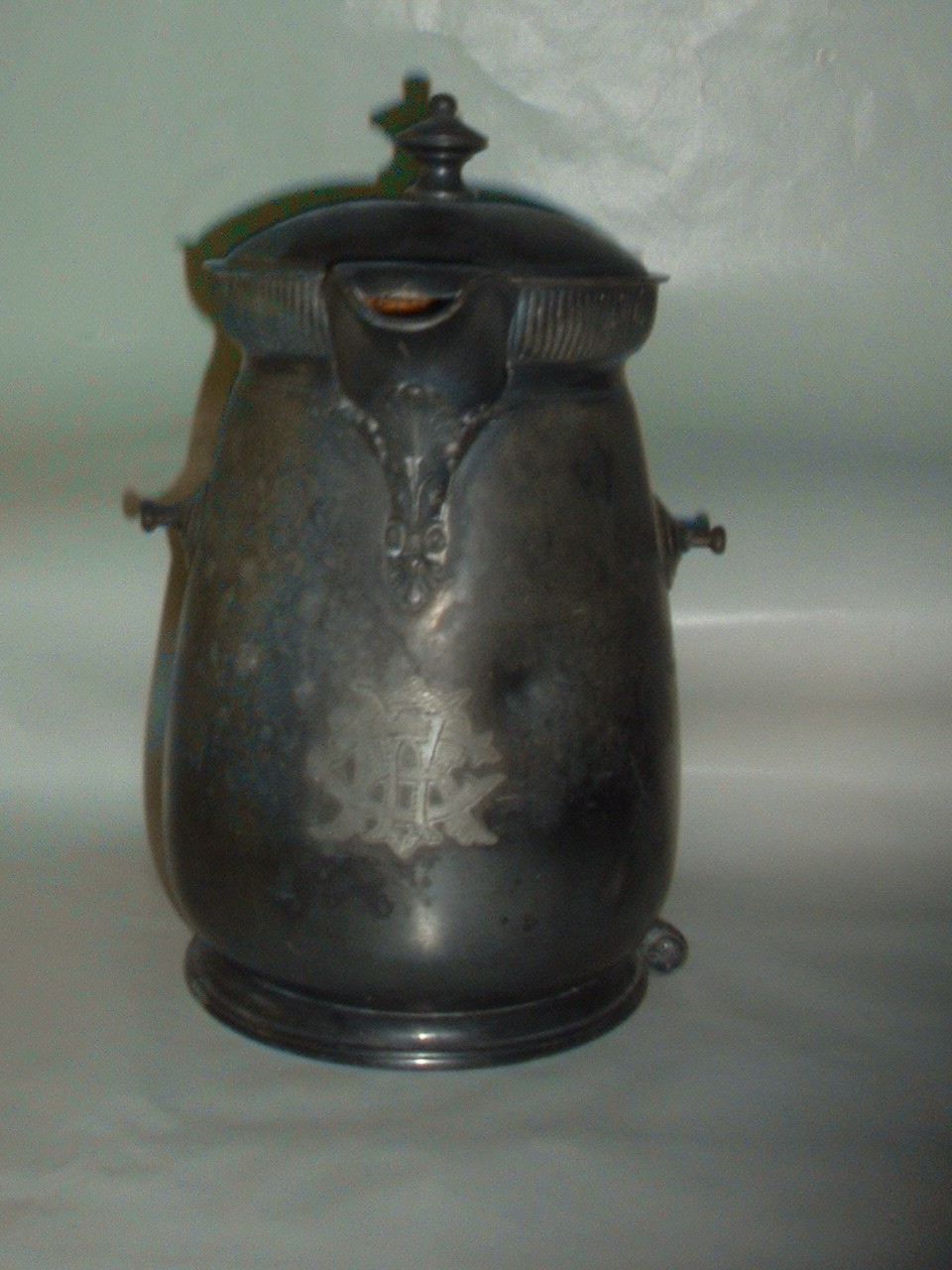 Vintage Antique Pat 1868 Silverplated Enamel Lined Heavy Water Pitcher Teapot