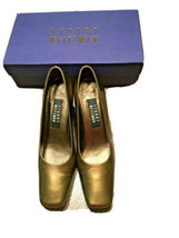 Stuart Weitzman Shoes Patent Square Toe Metallic Gold Stone Quasar Size 7 M - $49.49