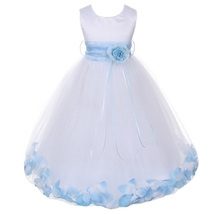 White Satin Bodice Layers Tulle Skirt Baby Blue Flower Ribbon Brooch and Petals - $48.00