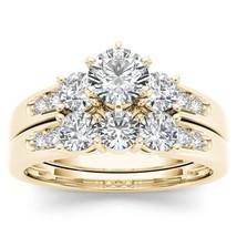 IGI Certified 14k Yellow Gold 1.42 Ct Natural Diamond Halo Engagement Ri... - $1,521.49