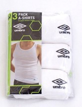 Umbro A-Shirts White Ribbed Cotton Tank Shirt 3 in Package New in Packag... - $22.49