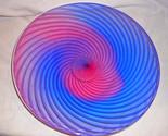 Art Blown Glass Round Platter, Spiral Designed Art Deco Plate, Serving Platter