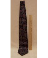 Mens Lands End Neck Tie Dark Blue & Red Paisley Design SOFT - $10.84