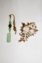 Gold Mermaid Bookmark, Natural Green Agate Charm, Book Charm, Free Shipping - $10.00