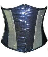 Black Silver Georgette Sequins Halloween Costume Burlesque Underbust Cor... - $69.29+