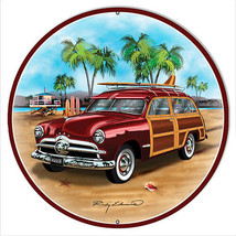 Ford Woodie Red Metal Sign By Rudy Edwards 14x14 Round - $27.72
