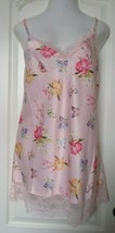 INC Pink Multicolor Print Chemise with lace trim Size Large - $22.67