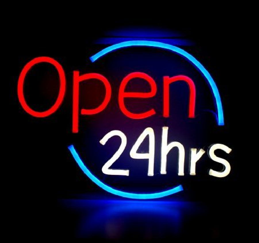 "New Open 24 Hours Bar Pub Coffee Cafe Neon Light Sign 24""x20"""